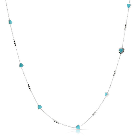 "Lisa Bridge Turquoise & Black Sapphire Necklace 36"""