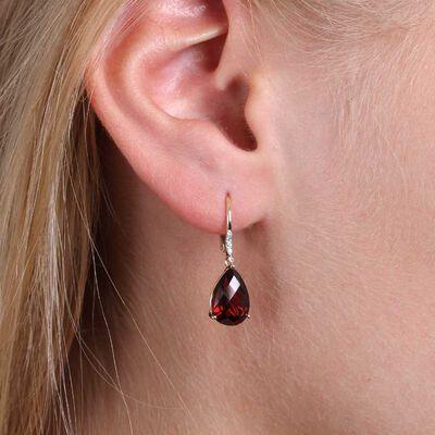 Pear Shaped Garnet & Diamond Earrings 14K