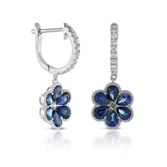 Sapphire & Diamond Flower Earrings 14K