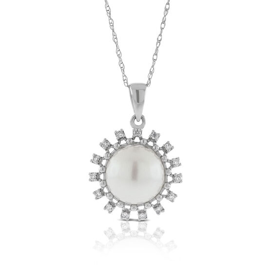Cultured Freshwater Pearl & Diamond Halo Pendant 14K