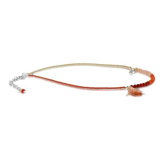 Lisa Bridge Gemstone Bead Anklet, Pink Tassel