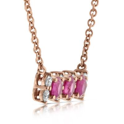 Rose Gold Ruby & Diamond 3-Stone Bar Necklace 14K