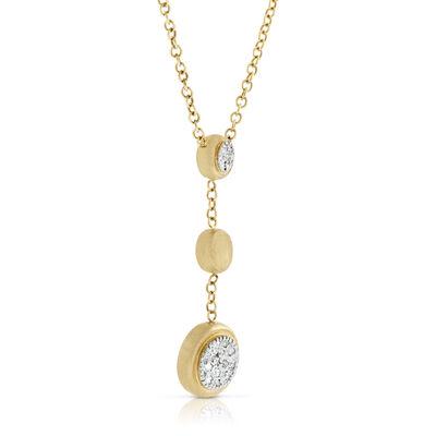 Toscano Satin Diamond Three Station Necklace 14K