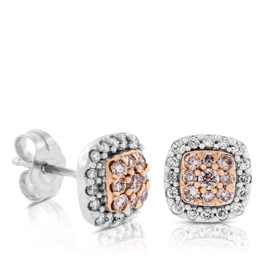 Pink & White Diamond Earrings 14K