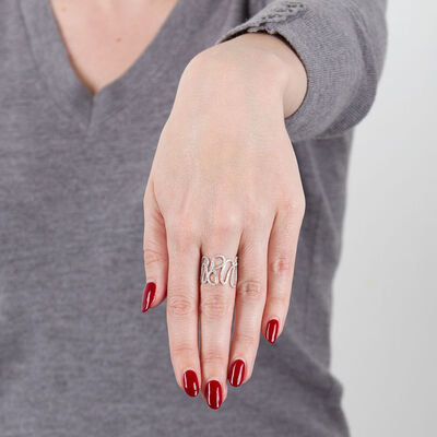 Open Squiggle Diamond Ring 14K