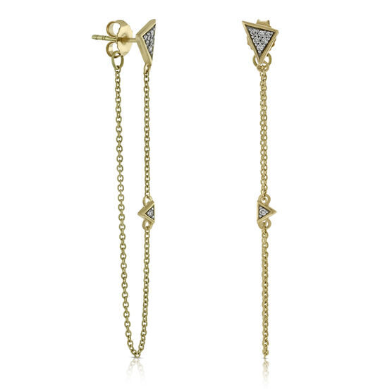 Front to Back Chain Diamond Earrings 14K