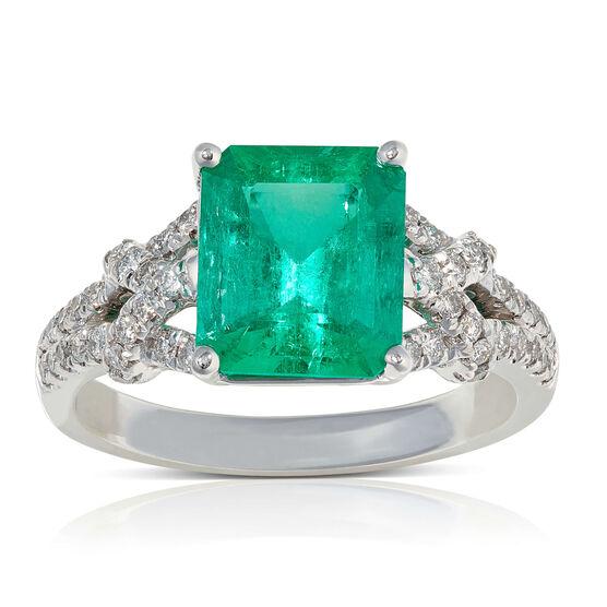 Emerald & Diamond Weave Ring 14K