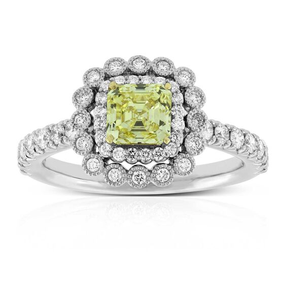 Fancy Intense Yellow Diamond Engagement Ring 18K, .90 Carat Center