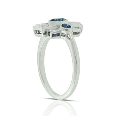 Art Deco Sapphire & Diamond Ring 14K