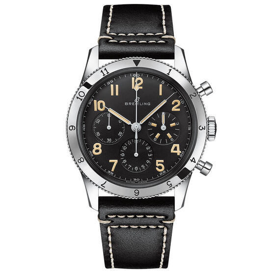 Breitling AVI Ref. 765 1953 Re-Edition Black Leather Watch, 41mm
