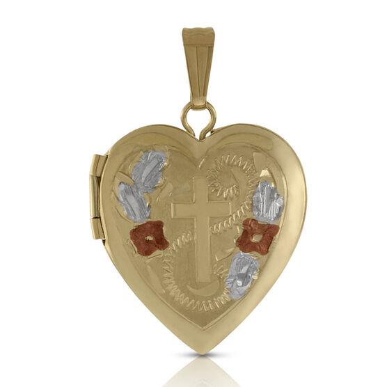 Hand Engraved Tri-Color Heart Cross Locket 14K