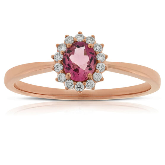 Rose Gold Tourmaline & Diamond Halo Ring 14K