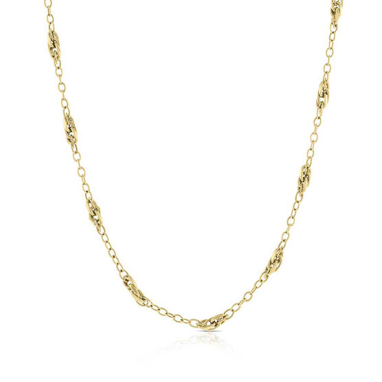 "Toscano Multi Link Station Chain Necklace 14K, 18"""