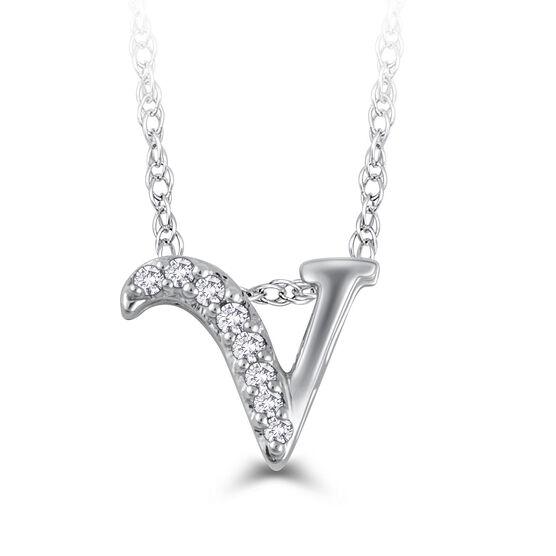 "Diamond ""V"" Initial Pendant 14K"