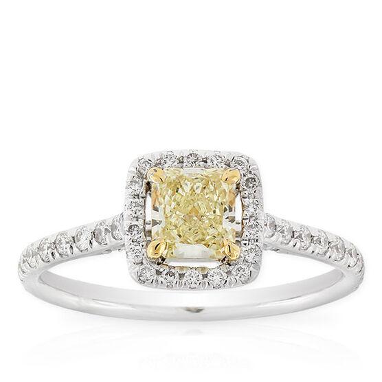 Radiant Cut Yellow Diamond Halo Ring .59 Ct. Center