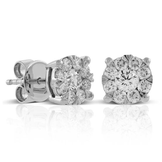 Cluster Diamond Earrings 14K, 3/4 ctw.