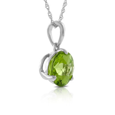 Checkered Peridot Pendant 14K, 8mm