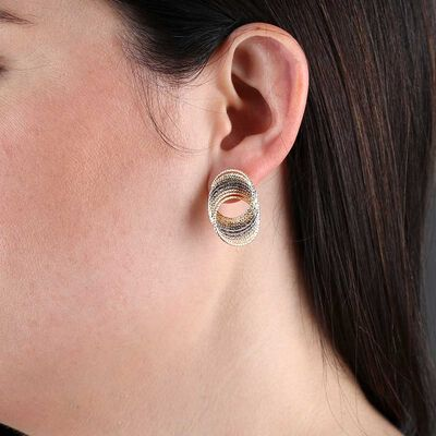 Toscano Twisted Wire Two-Tone Earrings 14K