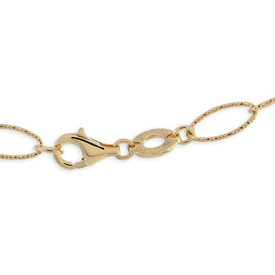 Diamond Cut Oval Link Chain, 18K over Sterling Silver