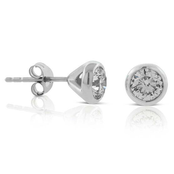 Bezel Set Diamond Stud Earrings 14K, 1 ctw.