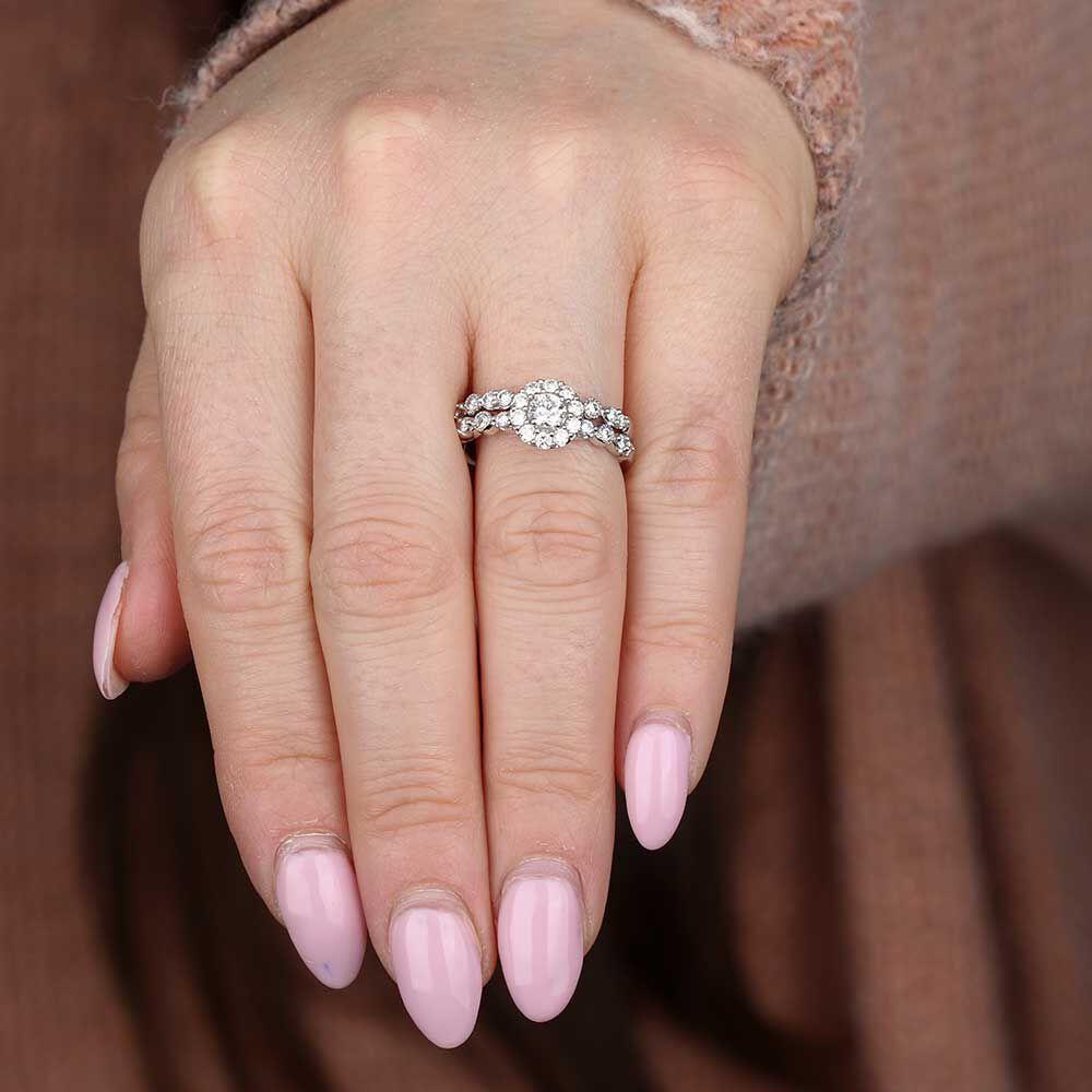 Perfect Halo Diamond Wedding Set 14K Halo Diamond Wedding Set 14K