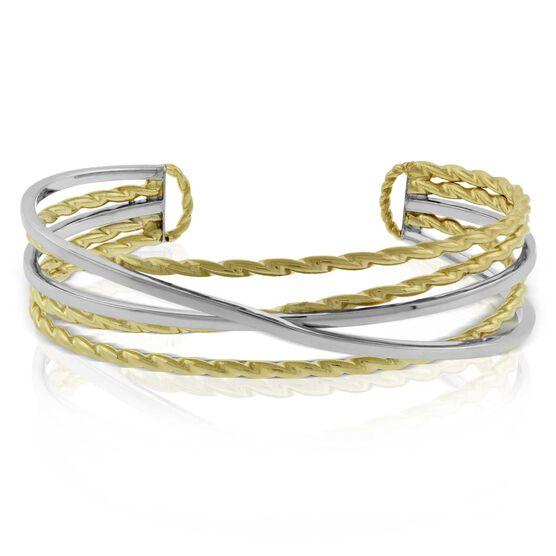 Toscano Two-Tone Crossover Cuff Bracelet 14K