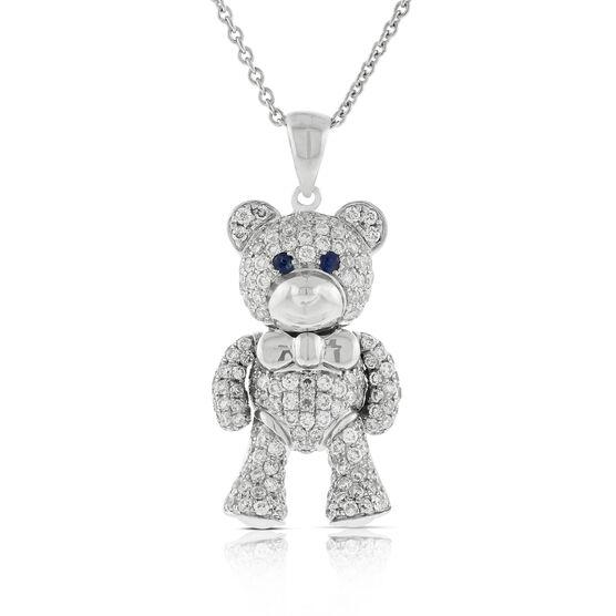 Benny Bear Diamond & Sapphire Pendant 14K White