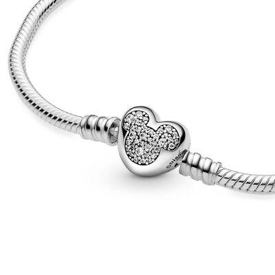 Pandora Disney Mickey Mouse Heart Clasp Snake Chain CZ Bracelet