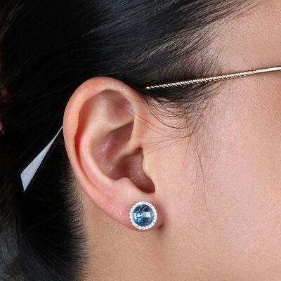 Blue Topaz & Diamond Halo Stud Earrings 14K
