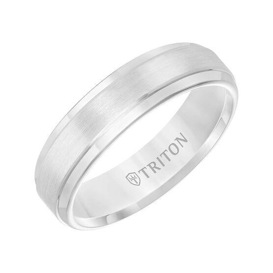 TRITON Contemporary Comfort Fit Satin Finish Band in White Tungsten, 6 mm