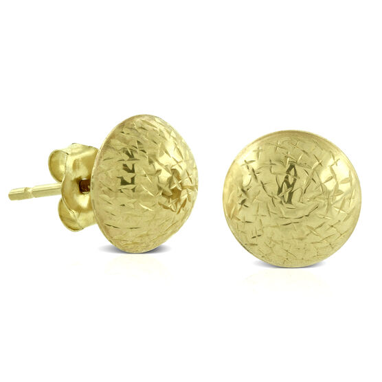 Diamond Cut Stud Ball Earrings 14K