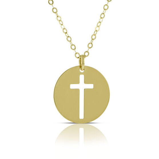 Cut Out Cross Pendant  14K