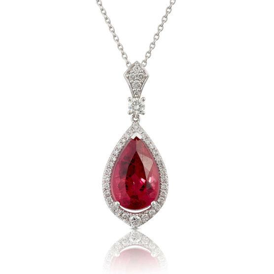 Pear Rubelite & Diamond Halo Necklace 14K