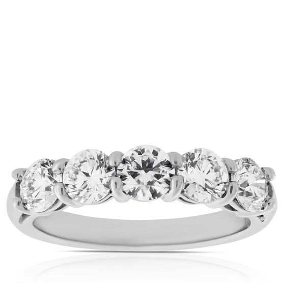 Diamond 5-Stone Band in Platinum, 1.6 ctw.