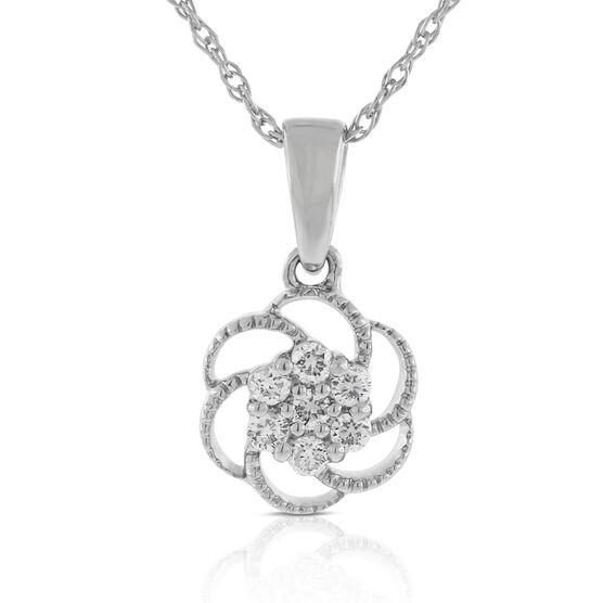Floral Diamond Cluster Pendant 14K