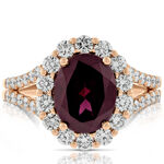 Rose Gold Rhodolite Garnet & Diamond Ring 14K