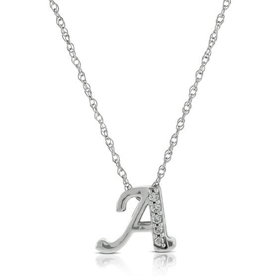 "Diamond ""A"" Initial Pendant 14K"