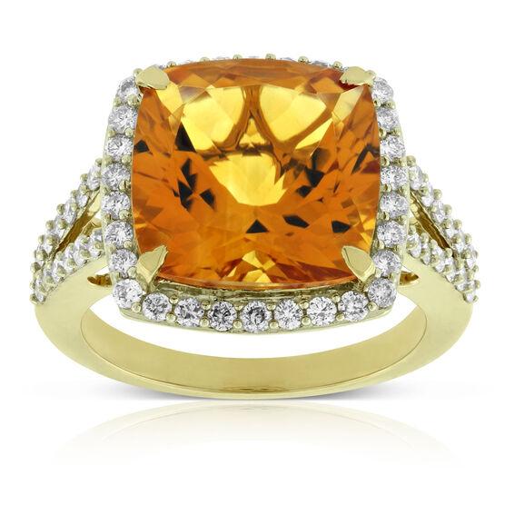 Madeira Citrine & Diamond Ring 14K