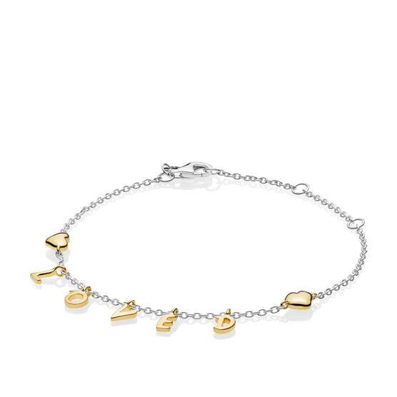 PANDORA Loved Script Bracelet, PANDORA Shine™ & Silver