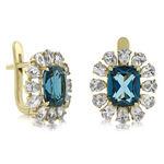 London Blue Topaz & Sapphire Earrings 14K