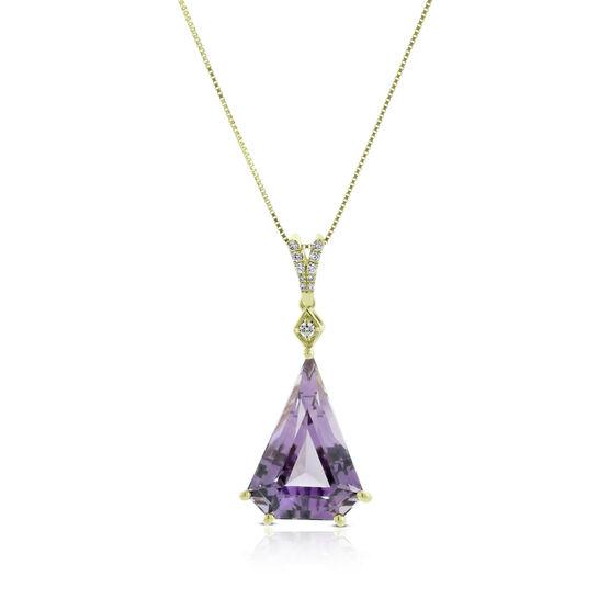 Modified Trillion Amethyst & Diamond Necklace