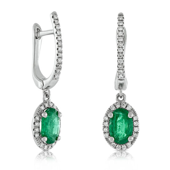 Dangle Emerald & Diamond Earrings 14K