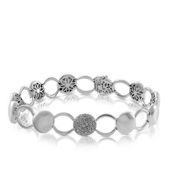 Button Link Diamond Bracelet in Sterling Silver