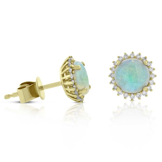 Opal & Diamond Halo Earrings 14K