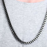 """Black IP Franco Chain in Stainless Steel, 24"""""""