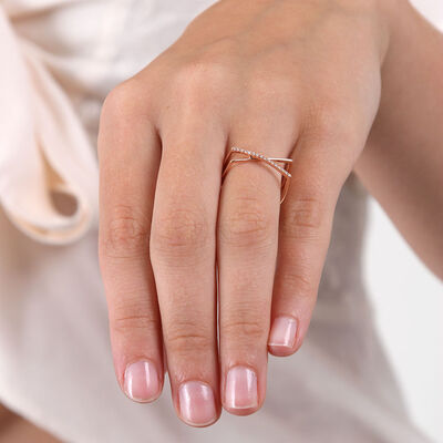 Rose Gold Diamond Crossover Ring 14K, Size 7