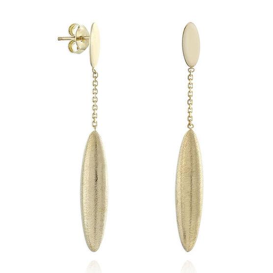 Satin Finish Drop Earrings 14K