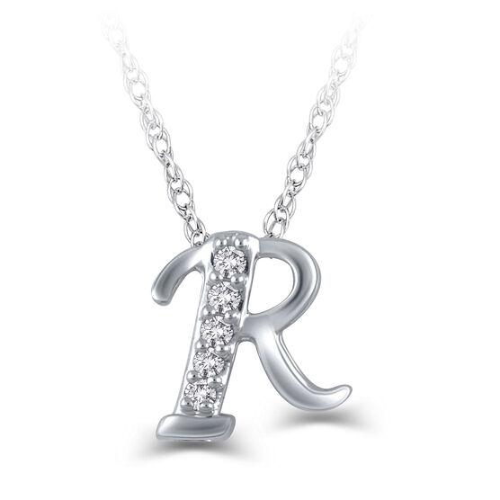 "Diamond ""R"" Initial Pendant 14K"