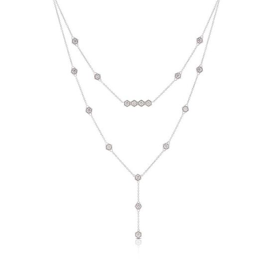 Hexagon Station Chandelier Necklace 14K