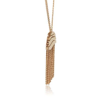 Toscano Double Chain Half Moon Fringe Necklace 14K
